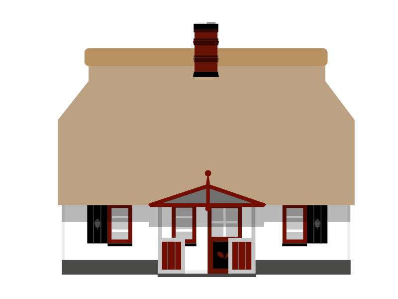 Illustration des Ferienhauses Hoheneichen Hohwacht mit Ansicht in Richtung Eingang