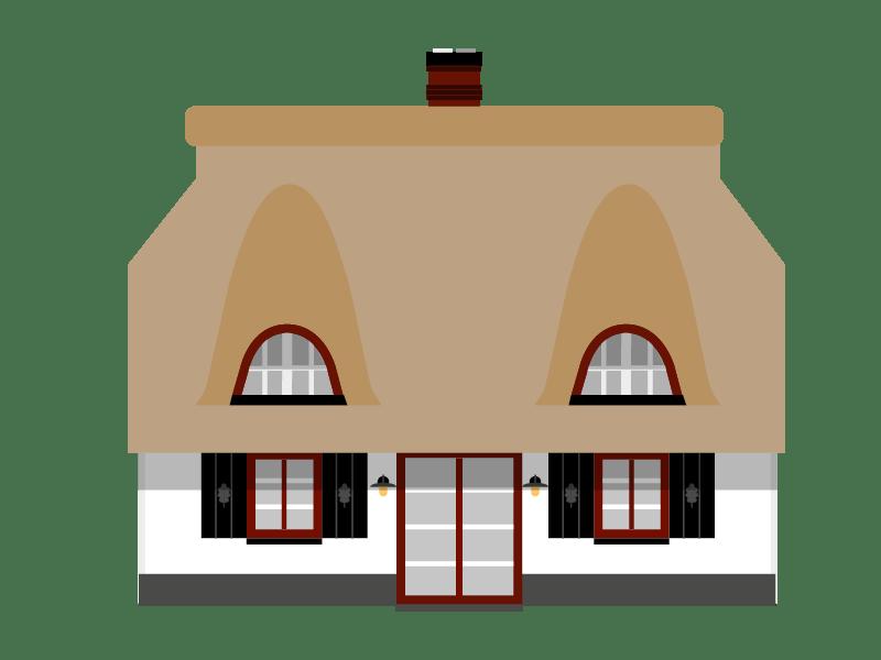Illustration des Ferienhauses Hoheneichen Hohwacht mit Ansicht aus Richtung Terrasse