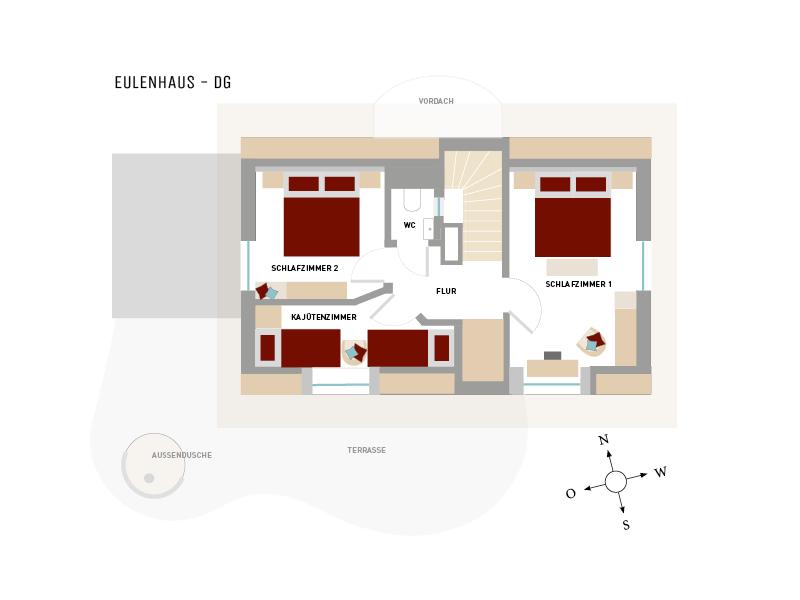 Hoheneichen Hohwacht, Grundriss vom Dachgeschoss des Eulenhauses der reetgedeckten Ferienhäuser