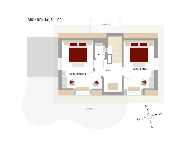 Dachgeschoß-Grundriss vom Ferienhaus Brunnenhaus, Hoheneichen Hohwacht an der Ostsee