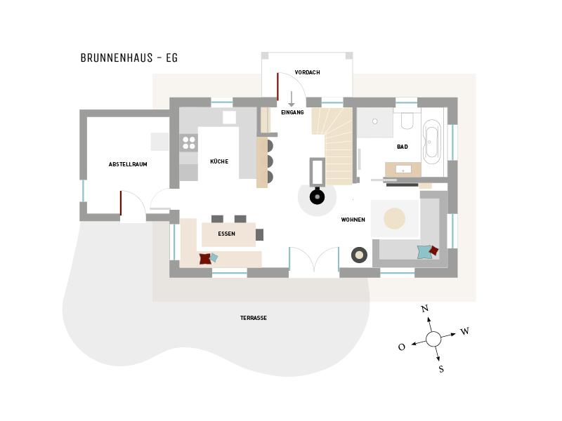 Erdgeschoß-Grundriss vom Ferienhaus Brunnenhaus, Hoheneichen Hohwacht an der Ostsee