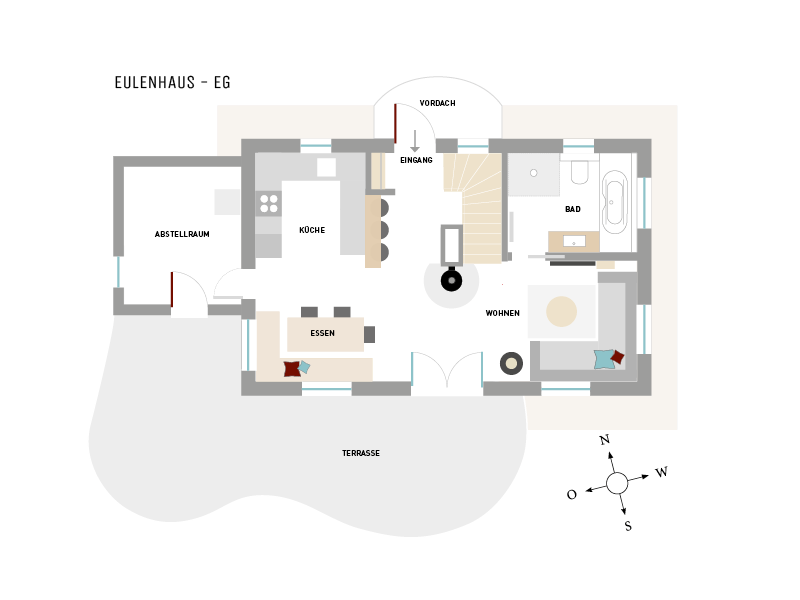 Erdgeschoß-Grundriss vom Ferienhaus Eulenhaus, Hoheneichen Hohwacht an der Ostsee
